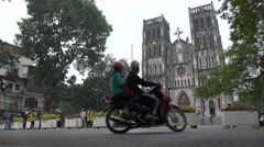 Catholic St Joseph cathedral, classic colonial style building in Hanoi, Vietnam Stock Footage