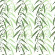 Seamless pattern branches of eucalyptus - stock illustration