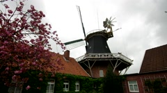 Windmill Esens in East Frisians Stock Footage