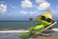 Frog in a deckchair on the beach - stock illustration
