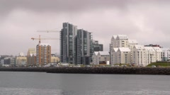 Panorama of Reykjavik from ocean Stock Footage