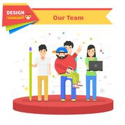 Our Success Team Linear Flat Design Stock Illustration