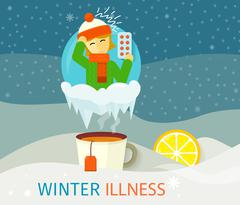 Winter Illness Season People Design - stock illustration