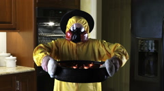 Kitchen Disasters, Woman with HazMat suit and Pilgrim Hat - stock footage