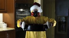 Kitchen Disasters, Woman with HazMat suit and Santa Hat Stock Footage