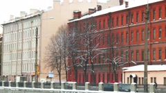 SAINT PETERSBURG, RUSSIA : Old buildings on embankment of Obvodnoy - stock footage
