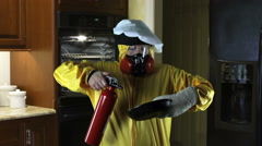 Kitchen Disasters, Woman with HazMat suit and Chefs Hat Stock Footage