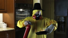 Stock Video Footage of Kitchen Disasters, Woman with HazMat suit and Pilgrim Hat