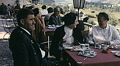 Austria 1967: people having lunch in an outdoor restaurant HD Footage