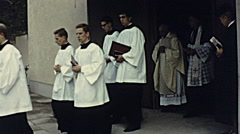 Austria 1967: altar boys leaving the church Stock Footage