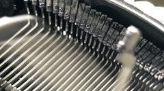 Old typewriter machine detail, typing text on vintage typing machine Stock Footage