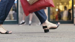 Summer Slow Motion in Shopping Woman with Bag Stock Footage