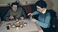 Austria 1962: woman and her mother having a drink at home Footage