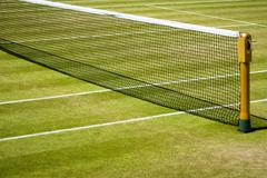 Tennis court and net - stock photo