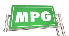 MPG Miles Per Gallon Fuel Efficiency Economy Freeway Sign 4K Stock Footage
