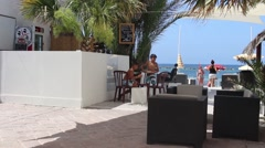 Mediterranean beach bar in the summer - stock footage