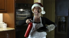 Kitchen Disasters, Woman with Apron and Santa Hat Stock Footage