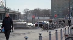 Many bicycles locked next to Berlin Central train station, Germany Stock Footage