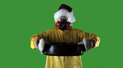 Kitchen Disasters, Woman with HazMat suit and Santa Hat - stock footage