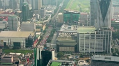 Skyskraper top view of Bangkok city transport interchange roads and high ways Stock Footage