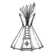 hand drawn indian tipi vintage illustration. - stock illustration