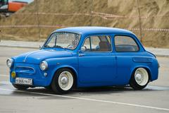 Vintage restored and tuned blue ZAZ-965 Zaporozhets car - stock photo