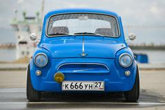 Vintage restored and tuned blue ZAZ-965 Zaporozhets car Stock Photos