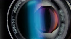 Camera diaphragm opening, close up Stock Footage