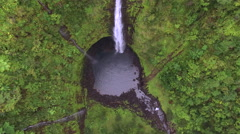 Aerial shot of big waterfall - Akaka falls, Big Island, Hawaii Stock Footage
