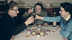 Austria 1962: family making a toast Stock Footage