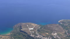 Malta Gozo island coastline view from airplane Stock Footage