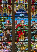 Riga cathedral stained glass window - stock photo