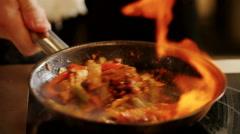 Cooking fajitas . Close-up Stock Footage