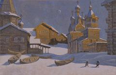 ILLUSTRATION OF A WINTER IN VILAGE WITH CHURCH AND BOATS - stock illustration