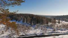 The river in the winter. Rocky Beach. Serga, Ural, Russia Stock Footage
