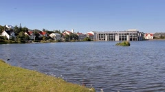 Lake Tjornin in a centre of city Stock Footage