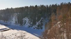 Winter landscape. Serga River, Ural, Russia Stock Footage