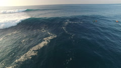Aerial shot of surfers and big waves - Hawaii, ocean Arkistovideo