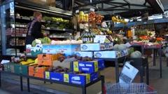 Torvehallerne, the covered food market halls in Copenhagen. Stock Footage