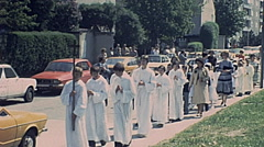 Austria 1970s: children parade on the first communion day - stock footage