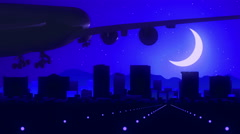 El Paso Texas USA America Skyline Sunrise Landing Moon Blue Stock Footage
