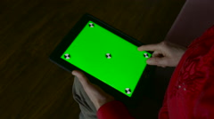 Tablet With a Green Screen Hands Adult Woman - stock footage