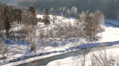 The river in the snow. Serga, Ural, Russia Stock Footage