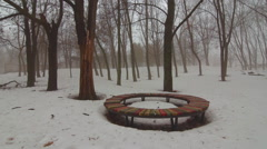 Old bench in the old fog park mystique mist and winter Stock Footage