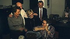 Austria 1978: secretary making a phone call Stock Footage
