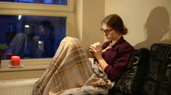 Women was sick and rest on sofa  Stock Footage