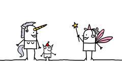 Unicorn & Fairy - stock illustration