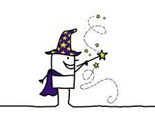 Hand drawn cartoon character - wizard & magic wand Piirros