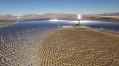 Aerial shot of solar power plant - solar farm, Nevada Arkistovideo