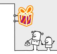 Hand drawn cartoon characters - consumer & shop sign - gifts Stock Illustration